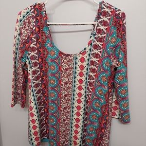 Rue21 Floral Boho Patterned Blue Women's Top